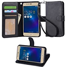 VIFLYKOO ASUS Zenfone 3 Max ZC520TL Funda, ASUS Zenfone 3 Max ZC520TL Carcasa Flip Cover con Pulsera Case para ASUS Zenfone 3 Max Smartphone Case - Negro