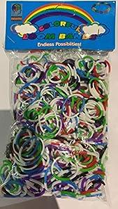 SHATCHI No- 5 Bandas. 1 300 Bandas de Colores de 2 Tonos Loom Crazy con Clips en S y Gancho Arte y Manualidades Juguetes para niños Regalos, Multi