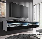 Muebles Bonitos –Mueble TV modelo Tobic (160 cm) en color blanco y negro