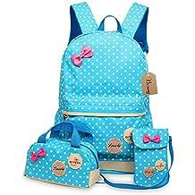 Bcony Conjunto de 3 Dot lindo Las mochilas escolares universidad/bolsas escolares/mochila niños niñas adolescentes + mini bolso + bolso crossbody,Azul
