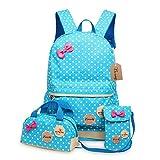 Bcony 3pcs carina punto scuola zaini bambina + ragazza borsetta + mini crossbody Borse,Blu immagine