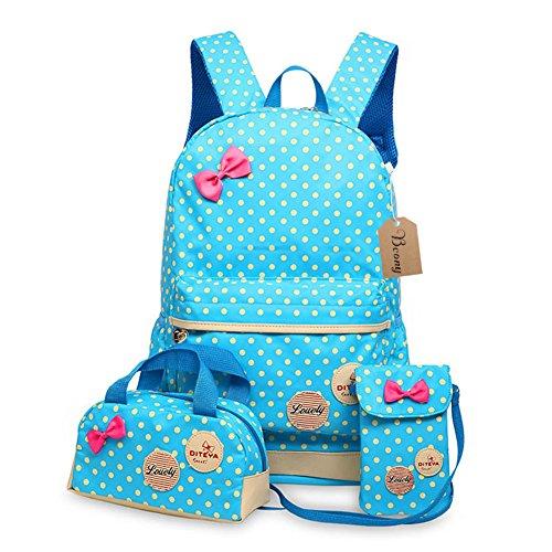 Bcony 3pcs carina punto scuola zaini bambina + ragazza borsetta + mini crossbody Borse,Blu