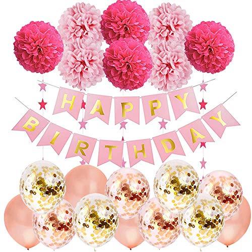 TOPHOPE Geburtstagsdeko Mädchen,Happy Birthday Girlande Ballons Banner Set mit Geburtstag Dekoration,Geburtstag Dekoration Set,Seidenpapier Pompoms Rosa und Rosa Ballons für Mädchen Freundin Tochter (Banner Geburtstag Ist Es Dein)