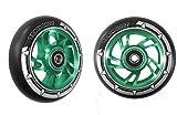 Paar pro Swirl Scooter Rollen 100mm–grün Legierung Core, Schwarz PU, Green Core