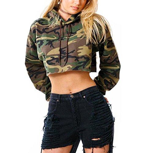 Frauen Kurz TopCamouflage Hoodie Sweatshirt - Highdas Lose Lange Ärmel Sexy Pullover Kurze Crop Top