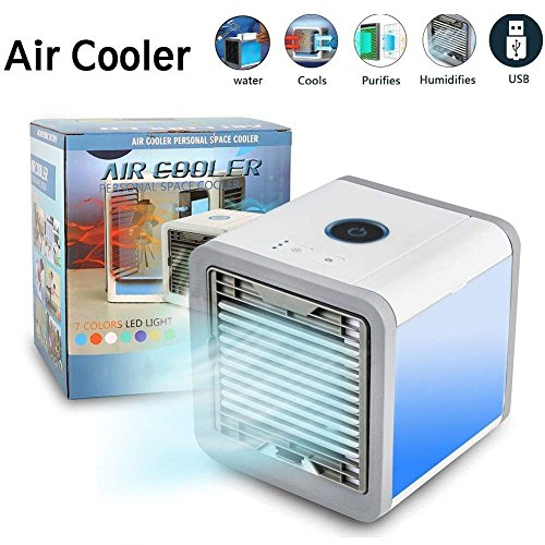 Nifogo Aire Acondicionado Móvil, 3en1 Mini Ventilador Humidificador Purificador de Aire Personal USB Climatizador Portátil [Sin Freón] para Casa/Oficina (Blanco)