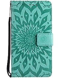 Funda Redmi Note 5A, Dfly Premium DeXiaomiado PU Cuero relieve Datura Flores Diseñado Case Soporte Plegable Ranuras para Tarjetas Cierre Magnético Billetera Carcasa para Xiaomi Redmi Note 5A, Verde