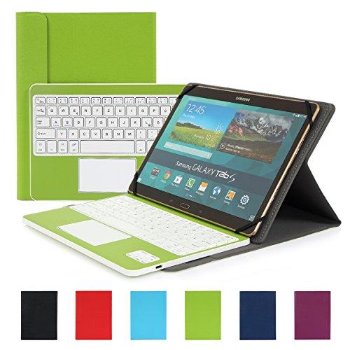 Besmall Wireless Touch Bluetooth Drahtlose Tastatur mit QWERTZ Tastaturlayout für Android Windows Tablet Smartphone(Mit PU-Hülle,Grün)