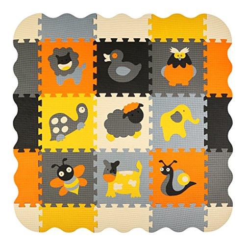 Puzzlematte Tiere Puzzleteppich Baby Puzzlematte Schadstofffrei Bodenpuzzle Schaumstoff Puzzlematte Schadstofffrei 25 Stück 116x116x1cm(46x46x0.4 inch) meiqicool 011B