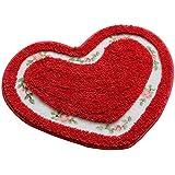"""1Pieza Sweet corazón puerta delantera alfombrilla Retro piso Floral rosa cocina alfombra alfombrillas para casa, rojo vino, 50x60cm/19.6x23.6"""""""