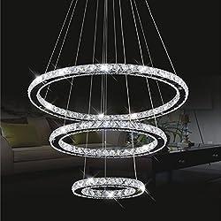 cristallo plafoniera, ciondolo luce LED 30 * 50 * 70 centimetri 3 anelli di cristallo cromo freddo Un bianco +