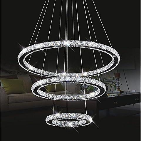 cristallo plafoniera, ciondolo luce LED 30 * 50 * 70 centimetri 3 anelli di cristallo cromo freddo Un bianco