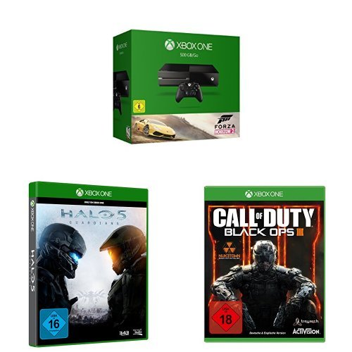Xbox One 500GB Forza Horizon 2 Bundle + Halo 5: Guardians + Call of Duty: Black Ops 3 (Forza Horizon 5)