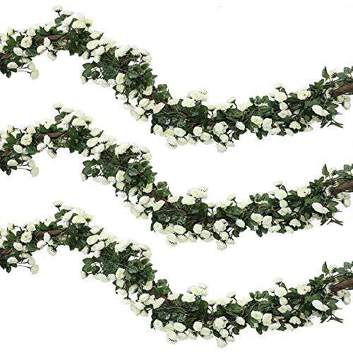 Veryhome 2Pcs 69 Heads 5.7FT Artificial Rose Vine Seda Falsa Flores Guirnalda Planta Floral Ivy Decoraciones para el hogar Arreglo de la Boda Partido Decoración del jardín Blanco