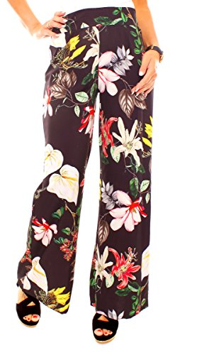 Fragolamoda Damen Sommer Edel-Hippie Marlene Satin Hose Lang Exotisch Bunt Geblümt Blumen Muster Weit Elegant One Size Schwarz-Bunt