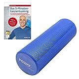 POWRX Yoga-Rolle/Pilates-Rolle/Schaumstoff-Rolle/Foam-Roller/Faszien-Training/Selbstmassagerolle 45 cm x 15 cm Blau | inkl. Trainingsbuch