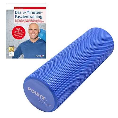 POWRX Yoga-Rolle / Pilates-Rolle / Schaumstoff-Rolle / Foam-Roller / Faszien-Training / Selbstmassagerolle 45 cm x 15 cm Blau | inkl. Trainingsbuch (Ben 10 Roller)