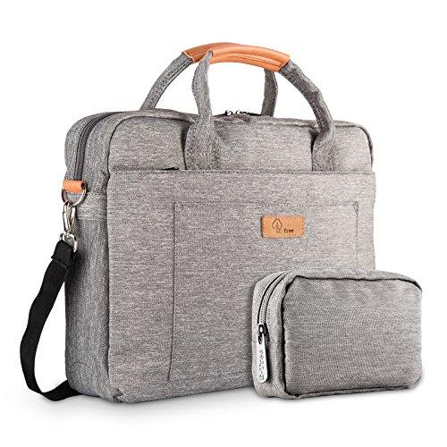 E-Tree 15-15.6 Zoll Laptoptasche Aktentaschen Handtasche Tragetasche Schulter Tasche Notebooktasche Laptop Sleeve Laptop Hülle für bis zu 15-15.6 Zoll Laptop Dell Alienware/MacBook/Lenovo/HP, Grau