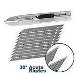 Ehdis® Light Duty 9 millimetri Snap Fuori 30 gradi Lame Slim guaina in acciaio inox con serratura di sicurezza taglierine grafico coltello con lama Snapper Aggiunto 10 lame, 1 Set