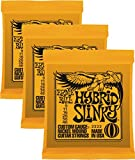 Ernie Ball Hybrid Slinky Jeu de 2222 Nickel-Jeu de cordes pour guitare électrique-Orange-Lot de 3 (Standard)
