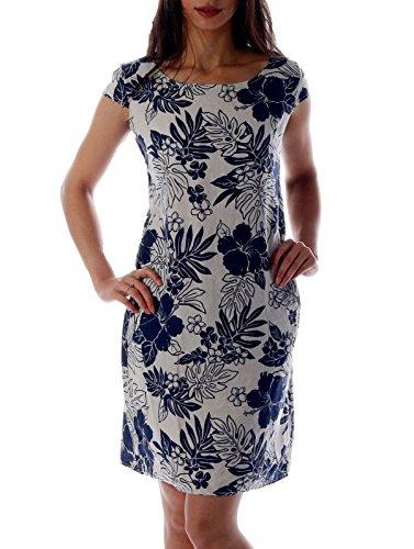 CHARIS MODA Leinen Kleid im Paisley-Design (M = 36, Beige-Blau) (Frauen Design Mode)