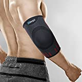Hykes Elbow Support Compression Sleeve Brace for Pain Relief - One Pair (Red, Small)
