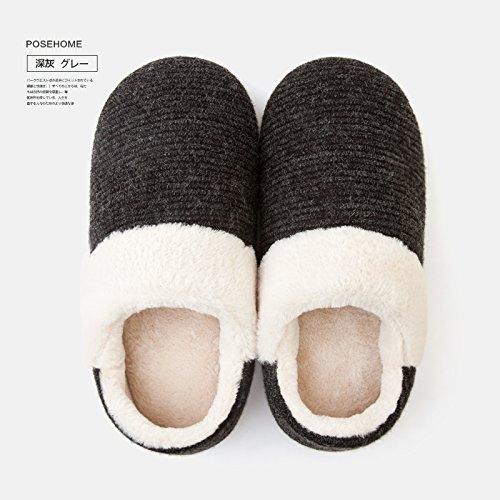 Fankou Home borsa con pantofole autunno maschio indoor giovane home non - slip caldo cotone pantofole inverno femmina Dunkelgrau