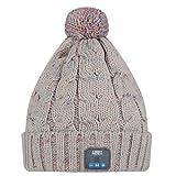 August EPA30 – Bluetooth Mütze mit Bommel– Winter Beanie mit Bluetooth Stereo Kopfhörer, Mikrofon, Freisprechen und integriertem Akku – für Damen, Herren, Kinder (Unisex, Einheitsgröße) - Farbe: Grau