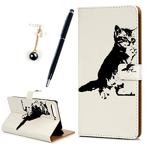 MOTIKO Huawei Y6 2018 Case,Huawei Honor 7A Case Premium Leather Flip Wallet Case Cover Magnetic Closure Card Holder Stand for Huawei Y6 2018/Honor 7A (with Stylus & Dust Plug) Black Cat