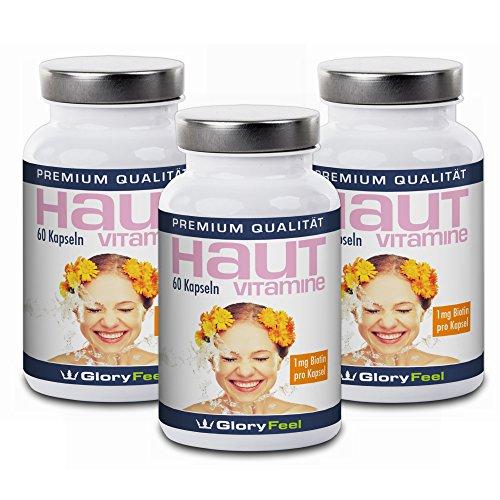Haut Vitamine Kapseln + Biotin Hochdosiert und Rein | 3 Dosen im Set | Vitamin A, B, C, E + Biotin, Zink, Lycopin und Pantothensäure | 180 vegane Kapseln