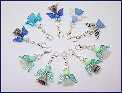 10 Perlenengel mit Karabinerhaken, blaue & grüne, handmade, Schutzengel, Anhänger