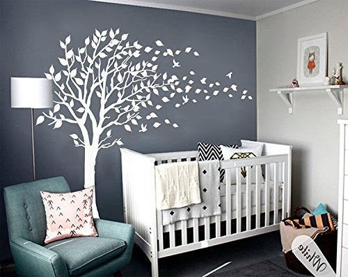 MAFENT Large Tree Blowing In The Wind Tree Wall Decals Wall Sticker Vinyl  Art Kids Rooms