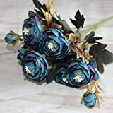 6Zweige Herbst Künstliche Fake Pfingstrose Blumen DIY Home Raum Brautschmuck Hortensie Decor Creamy Weiß blau