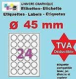10 Planches de 24 étiquette rondes diamètre 45 mm = 240 étiquettes Ø 45 - Blanc Mat - pour imprimantes Laser et Jet d'encre - Feuilles A4 autocollantes référence univers UGEROND45