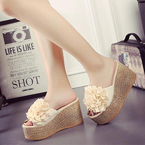 LvYuan Pantofole estive delle donne / Comfort Casual Fashion / tacco tallone / fondo spessa / piattaforma impermeabile / tacco alto / fiore sexy / sandali / beach shoes apricot