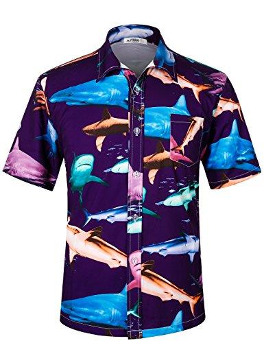 APTRO Herren Hemd Hawaiihemd Freizeit Hemd Kurzarm Urlaub Hemd Reise Shirt HW003 XXXL