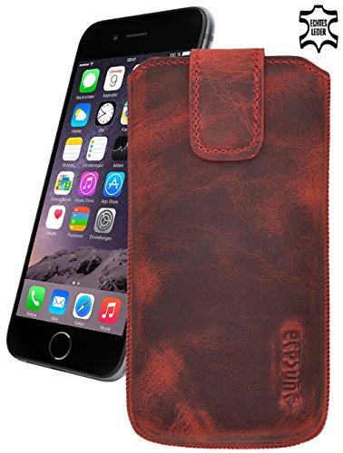 Original Suncase® Etui Tasche für | iPhone 8 / iPhone 7 / iPhone 6s / iPhone 6 (4.7 Zoll) | Leder Etui Handytasche Ledertasche Schutzhülle Case Hülle *Lasche mit Rückzugfunktion* antik-lachsrosa antik-rot