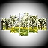 INFANDW Leinwanddruck 5 Panel Leinwand Art Sunny Forest Yellow Flowers-Naturlandschaft für Home Wohnzimmer Büro Trendig Eingerichtet Dekoration Geschenk (Rahmenlos) 200 x 100 cm