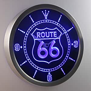 nc0315-b Route 66 Bar Beer Neon Sign LED Wall Clock