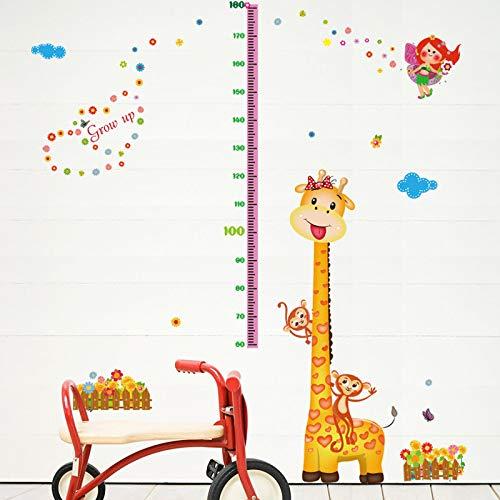 Sticker mural Bande Dessinée Girafe Singe Grandir Taille Enfants Salle Salon Garde-Robe Décoration Bricolage Vinyle Amovible Autocollant Stickers