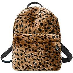 Widewing Mochila Ocasional del Paño Grueso y Suave de Las Señoras del Leopardo, Bolso de Hombro del Viaje-marrón