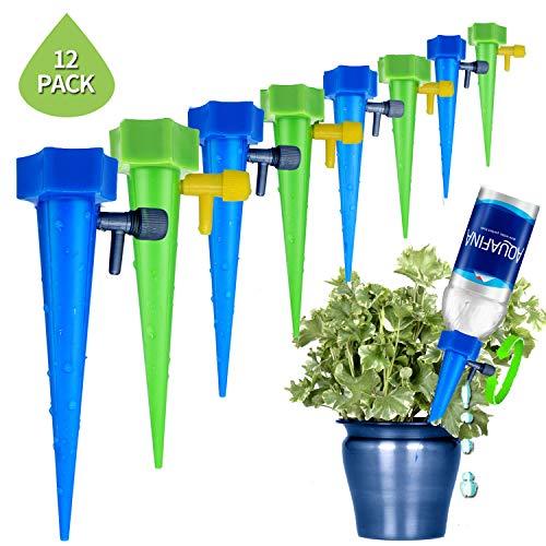 Sweetneed Dispositivo de Riego Juego de 12 por Goteo Automático Sistema de Riego por Goteo Lento con Válvula de Riego de Goteo,Herramientas de Jardinería para Plantas (12, Blue)