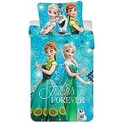 JF Disney Frozen - Juego de Cama (Reversible, Funda nórdica de 140 x 200 cm y Funda de Almohada de 70 x 80 cm, 100% algodón), diseño de Frozen