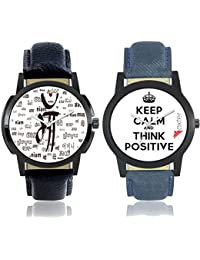 Freny Exim Casual Analog Newest Arrivals Combo Of 2 Latest White Dial Soft Leather Belt Watches For Boys - Men...