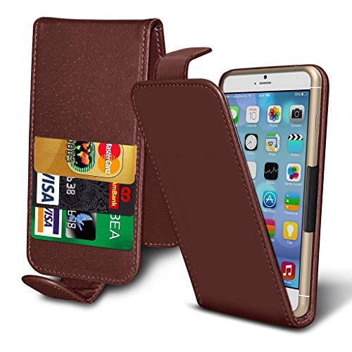 ( Brown 148 x 68.8 mm ) Tasche SchutzHulle fur Vodafone Smart N9 Lite case cover pouch Thin Faux Leather Spring Clamp Adjustable Flip case cover Skin With Credit/Debit Vodafone Smart N9 Lite case by i-Tronixs