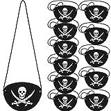 12 Stück Piraten Augen Patches schwarz Filz EIN Auge Schädel Kapitän Augenklappen für Halloween Weihnachten Pirat Thema Party