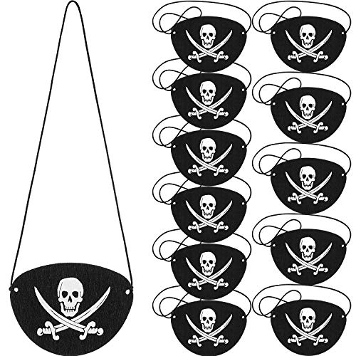 Pirate Eye Patches Black Felt One Eye Skull Captain Eye Patches for Halloween Christmas Pirate Theme Party (12 Pieces)