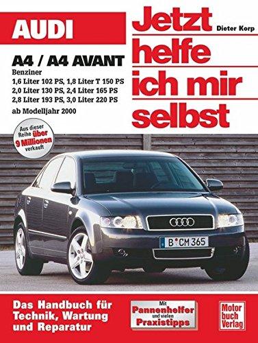 Audi A4/A4 Avant Benziner ab 2000. Jetzt helfe ich mir selbst: 1,6 Liter 102 PS; 1,8 Liter T 150 PS; 2,0 Liter 130 PS; 2,4 Liter 175 PS; 2,8 Liter 193 PS; 3,0 Liter 220 PS