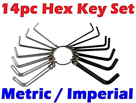 14PC Metric / Imperial Hex Hexagon Allen Alan Key Wrench Set With Keyring *New*