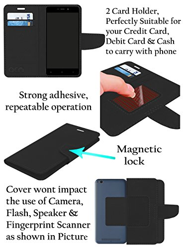 Acm Mobile Leather Flip Flap Wallet Case for Alcatel A7 Mobile Cover Black
